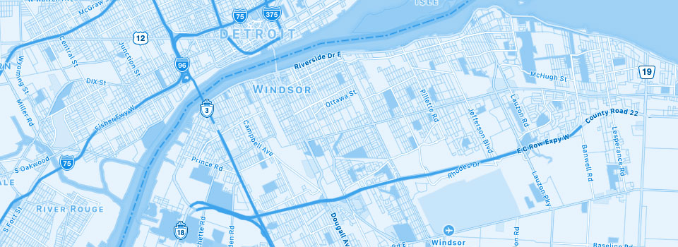 Map of downtown Windsor, Ontario