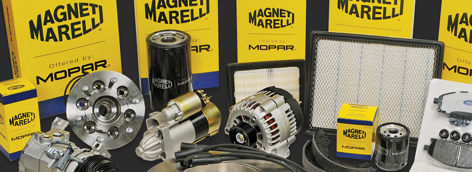 A collection of various Magneti Marelli automotive parts